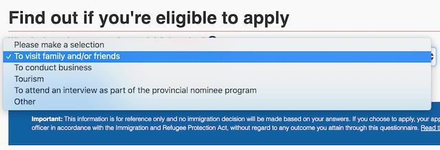 加拿大签证旅游目的