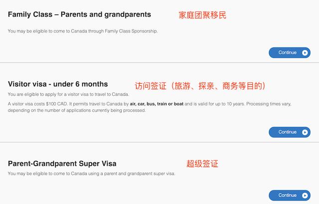 加拿大签证类别