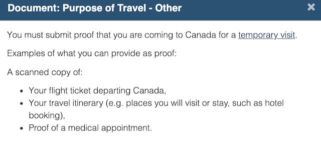 加拿大签证purpose of Travel